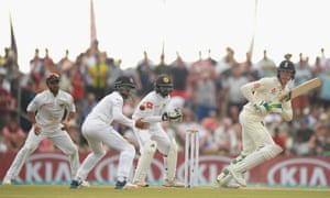 England batsman Keaton Jennings picks up some runs.