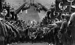 Hitler at a Nazi party rally in a scene from the 'compelling' The World at War.