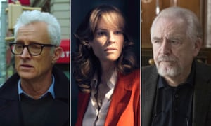 Saga and scions … John Slattery in The Romanoffs, Hilary Swank in Trust, and Brian Cox in Succession