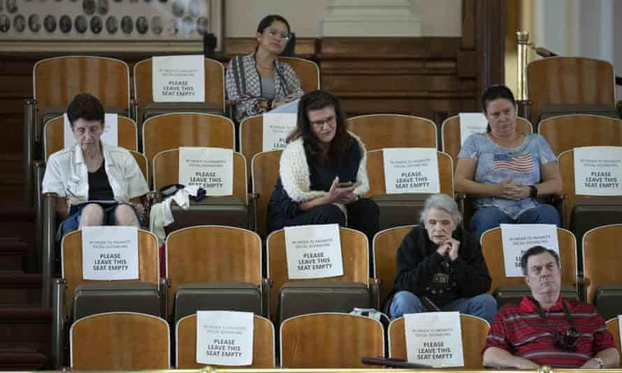 Spectators listen in the gallery as the Texas house debates SB 1. Democrats condemned the legislation.