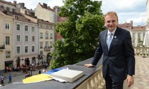 Lviv's mayor Andriy Sadovyy on the terrace of City Hall.