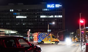 An ambulance leaves the Geneva University Hospitals (HUG) earlier this year.