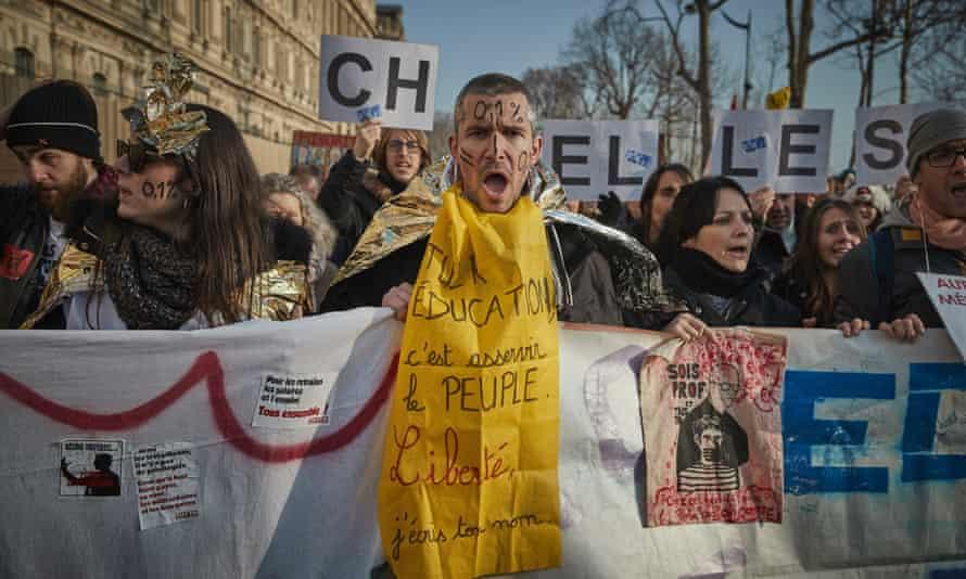 Demonstrators protest in Paris against proposed pension reforms
