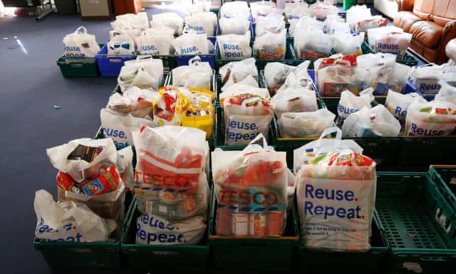 Packages at Inverclyde food bank in Scotland