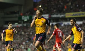 Andrey Arshavin celebrates after scoring the first of his four goals for Arsenal against Liverpool at Anfield in 2009.