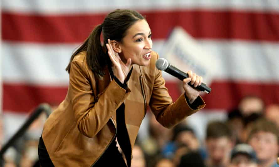 Alexandria Ocasio-Cortez in Iowa last year. She tweeted on Thursday: 'What's the difference between Trump's merch and ours? Ours is made in the US.'
