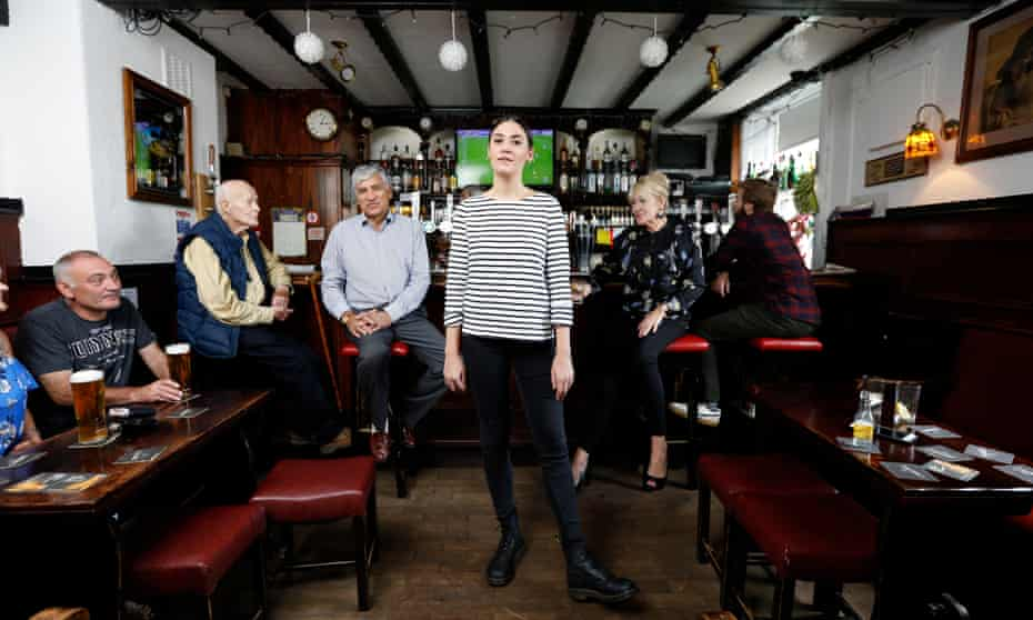 Nadine Shah and (at the bar) her parents Imtiaz and Heather in the Jolly Sailor pub in Whitburn, South Tyneside.