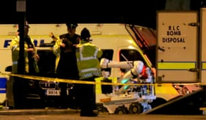 A Royal Logistic Corps (RLC) bomb disposal robot is unloaded outside the Manchester Arena
