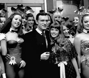 Hefner with US actor Barbara Benton in London