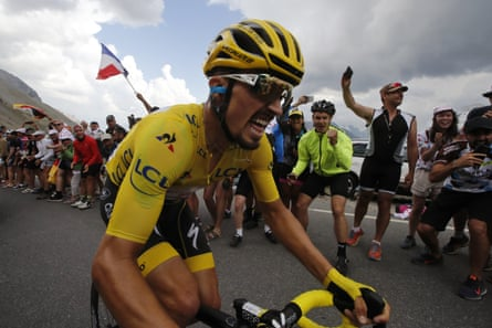 Julian Alaphilippe climbs the Galibier in yellow during last year's Tour