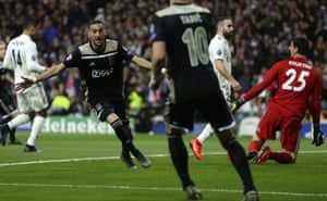 Hakim Ziyech celebrates after scoring for Ajax against Real Madrid last season. He scored in both legs of the Champions League tie.