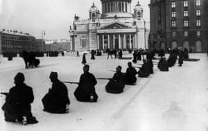 Soldiers in St Isaac's Square during the October Revolution of 1917.