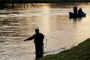 An angler in waders