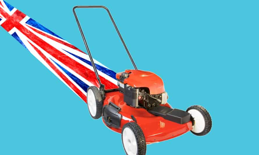 Red lawnmower with British Flag as mown stripe