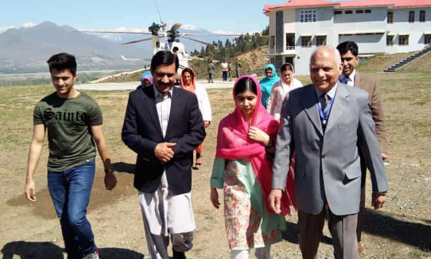 Malala Yousafzai and her father, Ziauddin, during her home visit in March 2018.