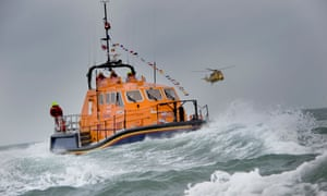 The RNLI lifeboat Mollie Hunt in rough seas off the North Devon coast