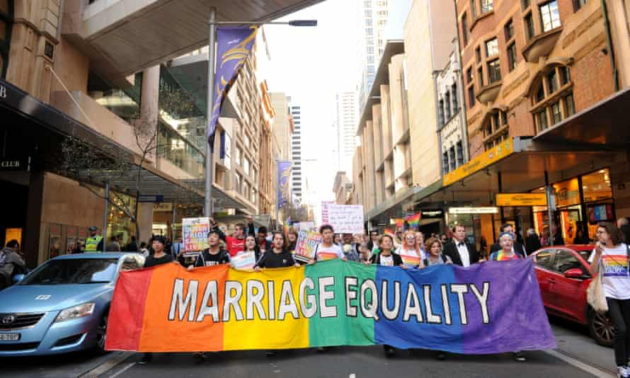 Supporters attend a marriage equality rally in Sydney in August.