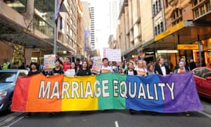 Supporters of marriage equality attend a rally in Sydney in August.