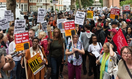 Hundreds of demonstrators gather to demand the resignation of Kensington and Chelsea councillors in the aftermath of the Grenfell Tower fire