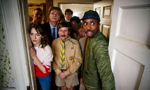 Charlotte Ritchie (far left) and Kiell Smith-Bynoe (far right) with the ghosts of Button Hall.