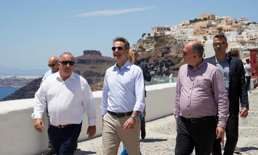 Greek prime minister Kyriakos Mitsotakis on a recent visit to Santorini.