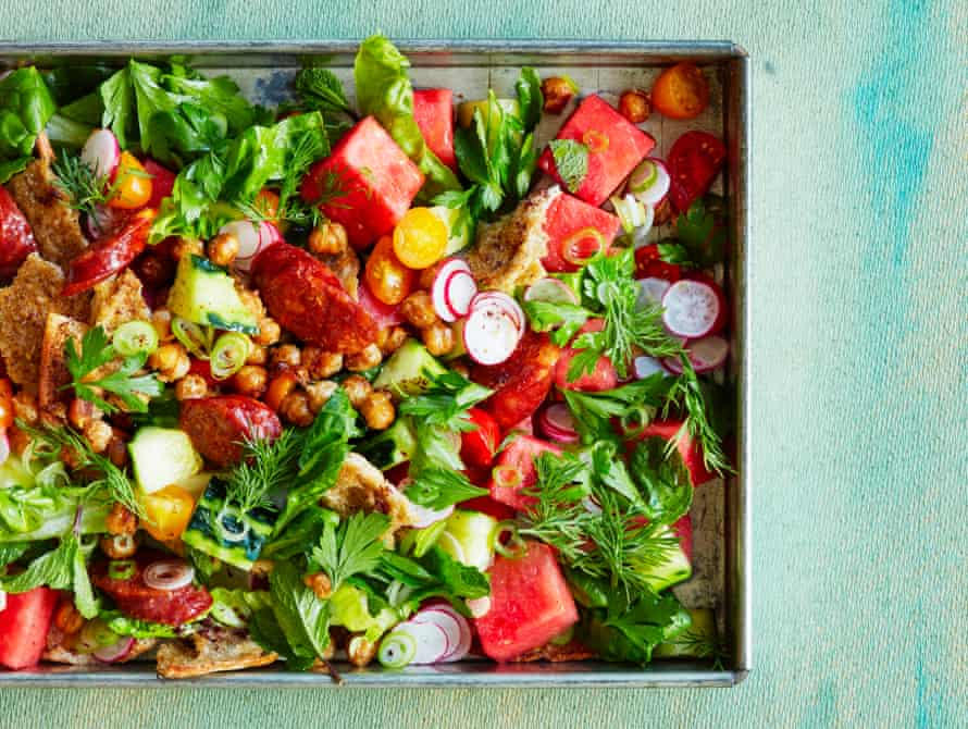 Watermelon, chorizo and crisp chickpea salad