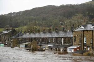 Flooded houses in Mytholmroyd, West Yorkshire, after the River Calder burst its banks