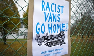 A protest poster attached to the perimeter fence of Yarls Wood immigration removal centre, Bedfordshire.