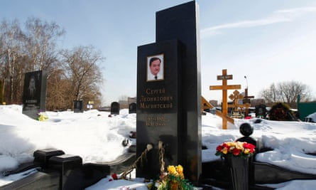 The grave of anti-corruption lawyer Sergei Magnitsky in Moscow.
