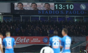 A minute's silence is observed for Davide Astori at the Stadio San Paolo.