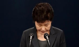 South Korean President Park Geun-hye bows her head as she apologises for the crisis caused by the alleged influence of her old friend Choi Soon-sil.