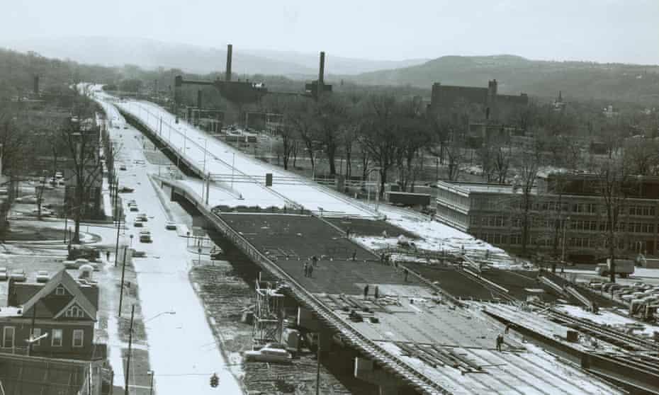Construction of Interstate 81 through Syracuse, circa 1965.