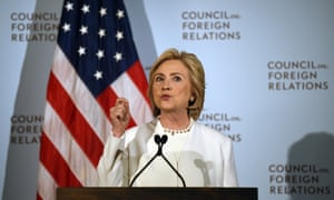 Democratic presidential hopeful Hillary Clinton delivers a national security address at the Council on Foreign Relations in New York.