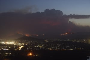 The Orroral Valley fire near Tharwa from Black Mountain tower taken 31 January