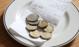 A tip left on a dish at a restaurant.