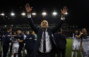 Melbourne Victory coach Kevin Muscat thanks supporters after the A-League Grand Final between the Newcastle Jets and Melbourne Victory.