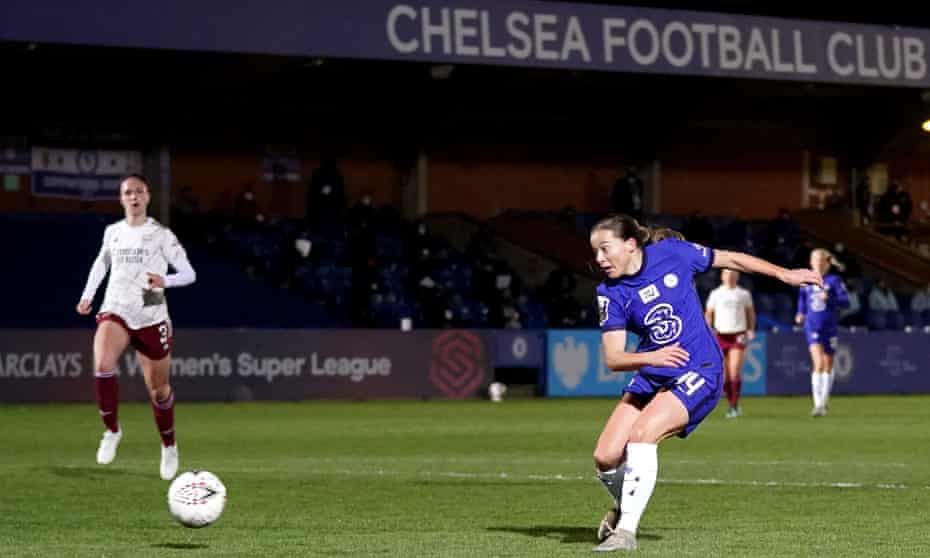Fran Kirby fires home the final goal of Chelsea's 3-0 win over Arsenal this month.