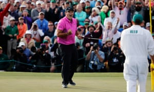 Patrick Reed celebrates after holing his final putt to win the Masters.