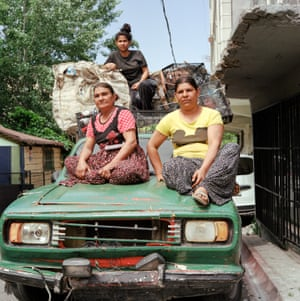 Informal garbage recyclers Hazal, Gullu and Binnaz