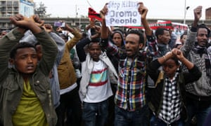 Protesters during a demonstration over unfair distribution of wealth in Addis Ababa