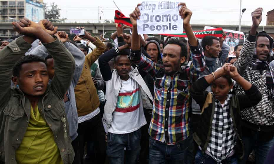 Protesters chant slogans during a demonstration over what they say is unfair distribution of wealth in Ethiopia's capital Addis Ababa.