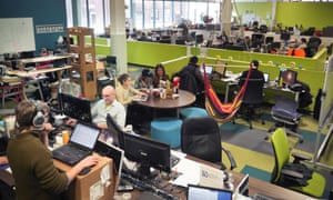 The desk space inside Greentown Labs in Somerville.
