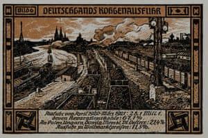 A Notgeld from Bitterfeld, 1921 showing a freight train moving down a track