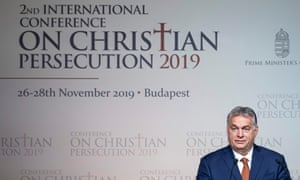 Viktor Orbán at a conference on persecuted Christians in Budapest. He is a proponent of the far-right conspiracy theory of the 'Great Replacement'.