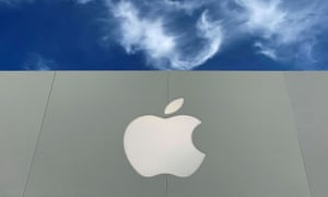 The Apple logo is shown atop an Apple store at a shopping mall in La Jolla, California.