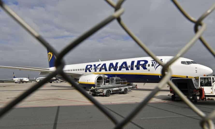 A Ryanair plane parked at the airport in Weeze, Germany