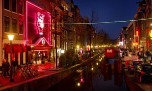 Amsterdam's red-light district, crowds, canal