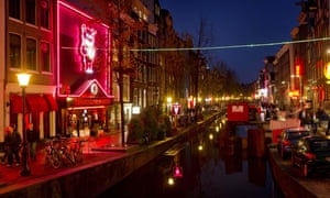 Amsterdam's red-light district at night