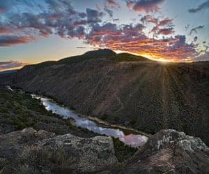 Sunset over Rio Grande gorge at Sheep Crossing, Rio Grande del Norte National Monument, New Mexico