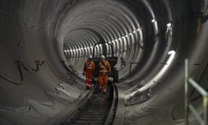 Construction workers in a Crossrail tunnel